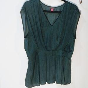 Dark Blue-Green Sleeveless Blouse